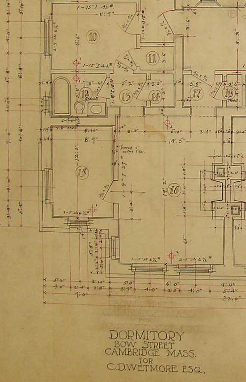 The original plans of Westmorly Hall, commission for Harvard Graduate Warren Wetmore, a local developer. Wetmore went on to found, with partner Charles Warren, the famous firm Warren and Wemore, which designed Grand Central Station in New York City.