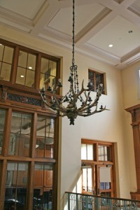 The TR chandelier, now in the Barker Center