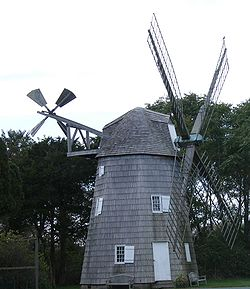 The Lathrop Brown windmill, now in Wainscott, Long Island.