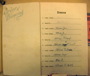 A gentleman's dance card of the period. Courtesy Harvard University Archives.