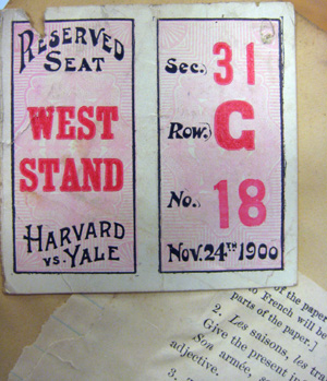 LB and FDR's first Harvard Yale Game. Certainly they were there, though the stadium wasn't: it was still three years away. These tickets incidentally, have convenient match strikers on the back: so much easier to light your pipe!