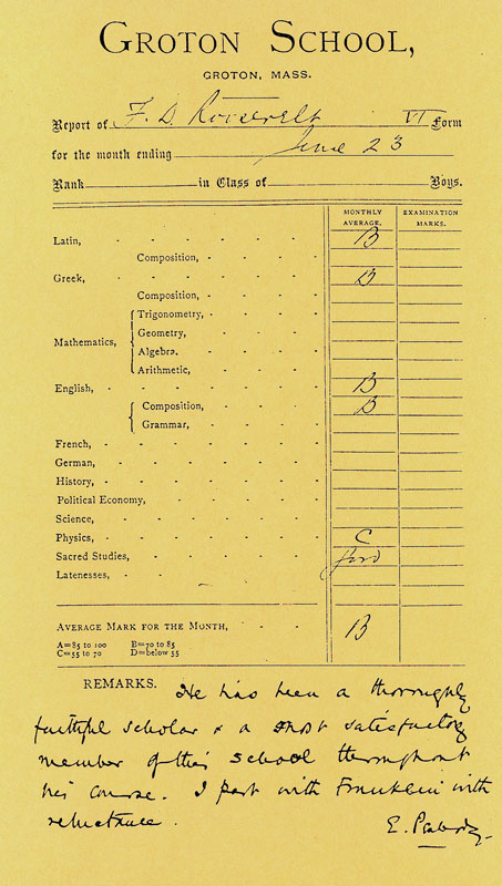 FDR's Last Report Card from Groton. Next stop, Harvard!