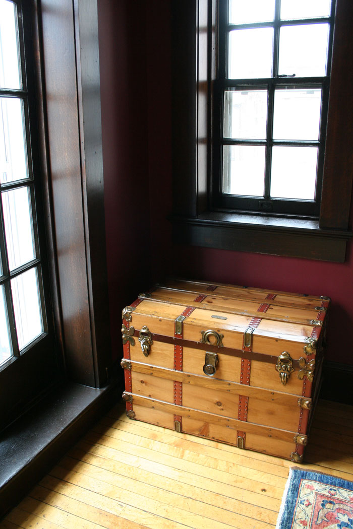 A closeup of the chest; this item will eventually reside at the foot of FDR's bed, as he notes in his letters to Sara