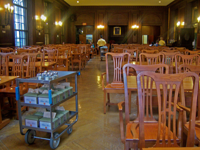 The battle begins: two hours, and 250 chairs and tables to assemble, arranged through the good offices of the FDR Institutes Matthew Young and his band of volunteers.