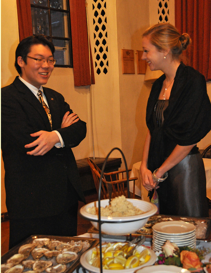Meanwhile, back in the Lower Common Room, The FDR Institute's Matthew Young '12 and Kara Kubarych '13