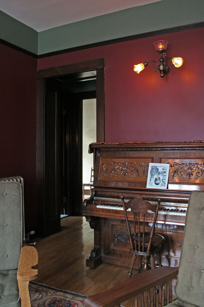 """The vew towards the piano. The song waiting to be played is """"Taking a Trip Up the Hudson."""" Thanks to the dedicated group of alumni who funded this project!"""