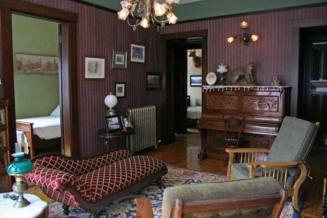 "The study looking north; FDR's bedroom on the left, Lathrop's center. You can just glimpse ""George"" Lathrop's 8 point buck through the door frame"