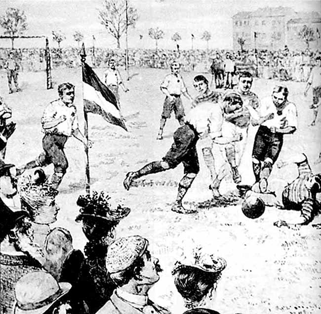 An early football game, along the lines of that played at Harvard in the early 1870s. Note the round ball, and complete lack of uniforms and equipment!