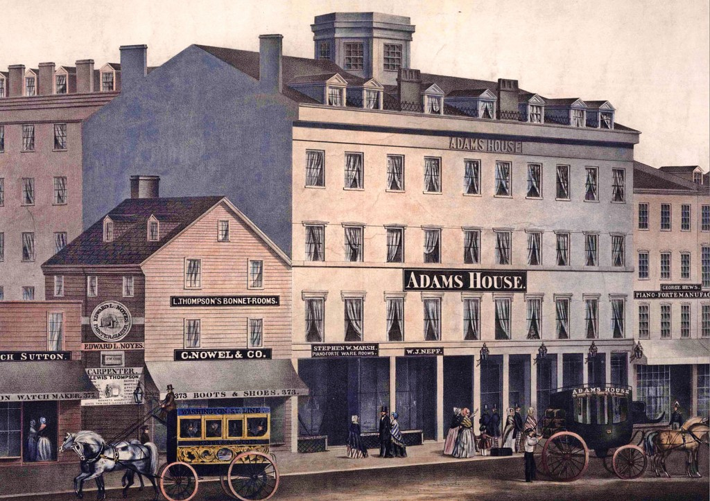 The original 1846 Adams House Hotel on Washington Street, Boston.  (Courtesy: Boston Atheneum)