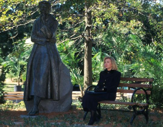 irst Lady Hillary Clinton at the dedication of the Eleanor Roosevelt Monument in Riverside Park, New York City, October 5, 1996