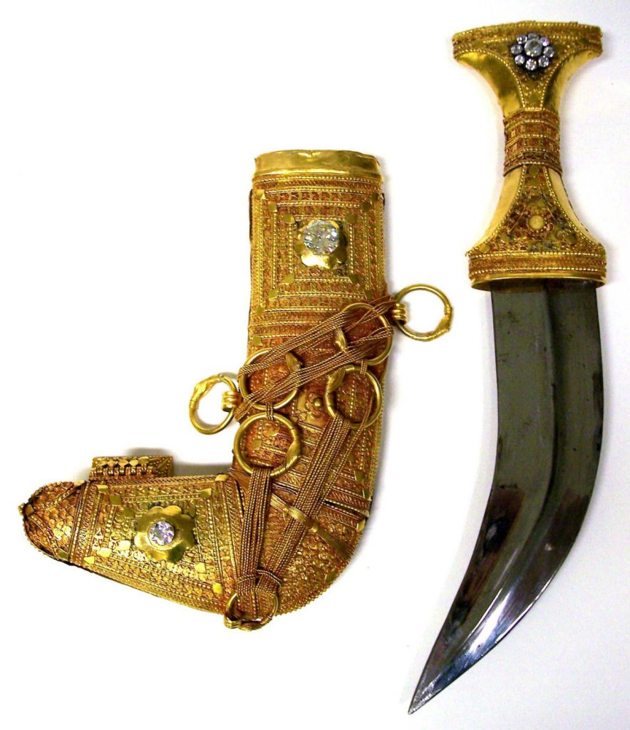 Diamond and gold dagger and scabbard given by King Abdulaziz to FDR. Courtesy FDR Library and Museum.