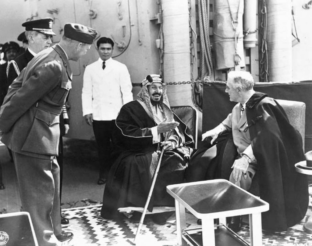 Franklin Roosevelt and Ibn Saud meeting aboard the U.S.S. Quincy, February 14, 1945.